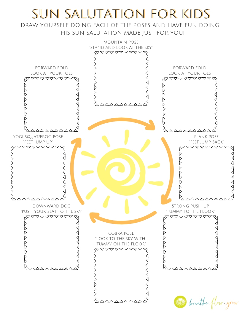 Sun Salutation for Kids Coloring Sheet